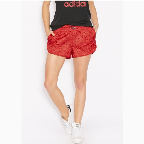 adidas Pants - Adidas Originals red embossed shorts